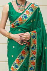 Green Super Soft Banarasi Silk Paithani Saree - Maanika Silk By Manjubaa