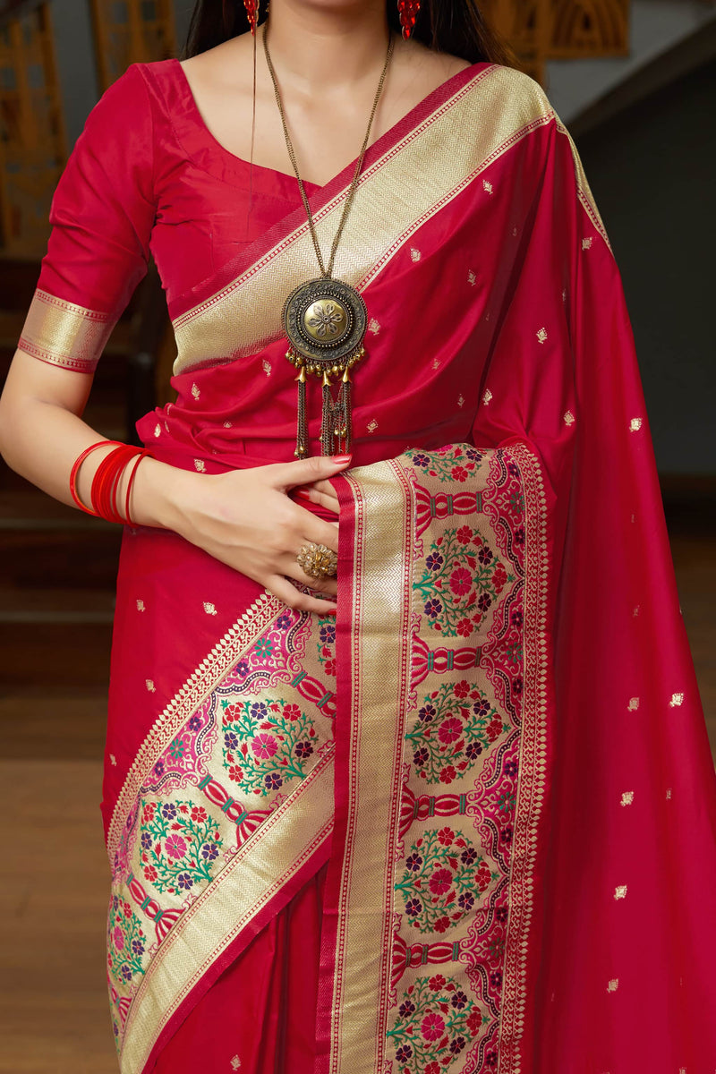 Blood Red Super Soft Banarasi Silk Paithani Saree - Maanika Silk By Manjubaa