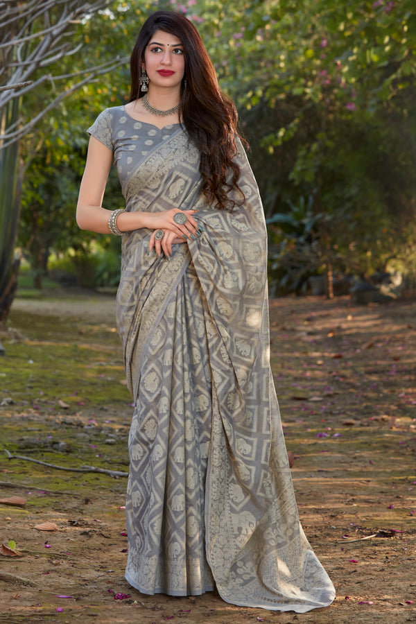 Ash Grey Lucknowi Cotton Silk Saree - Muskaan Silk By Manjubaa