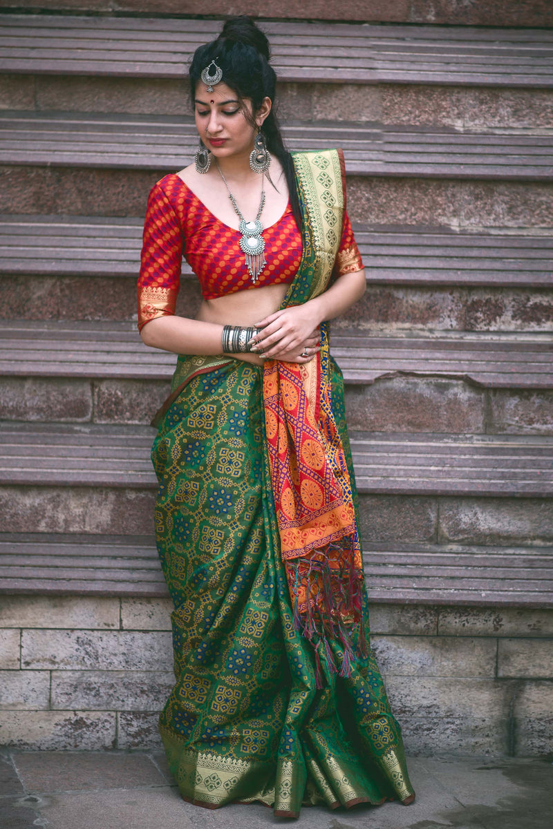 Green Patola Silk Saree - Lotus Vol 08 by Manjubaa