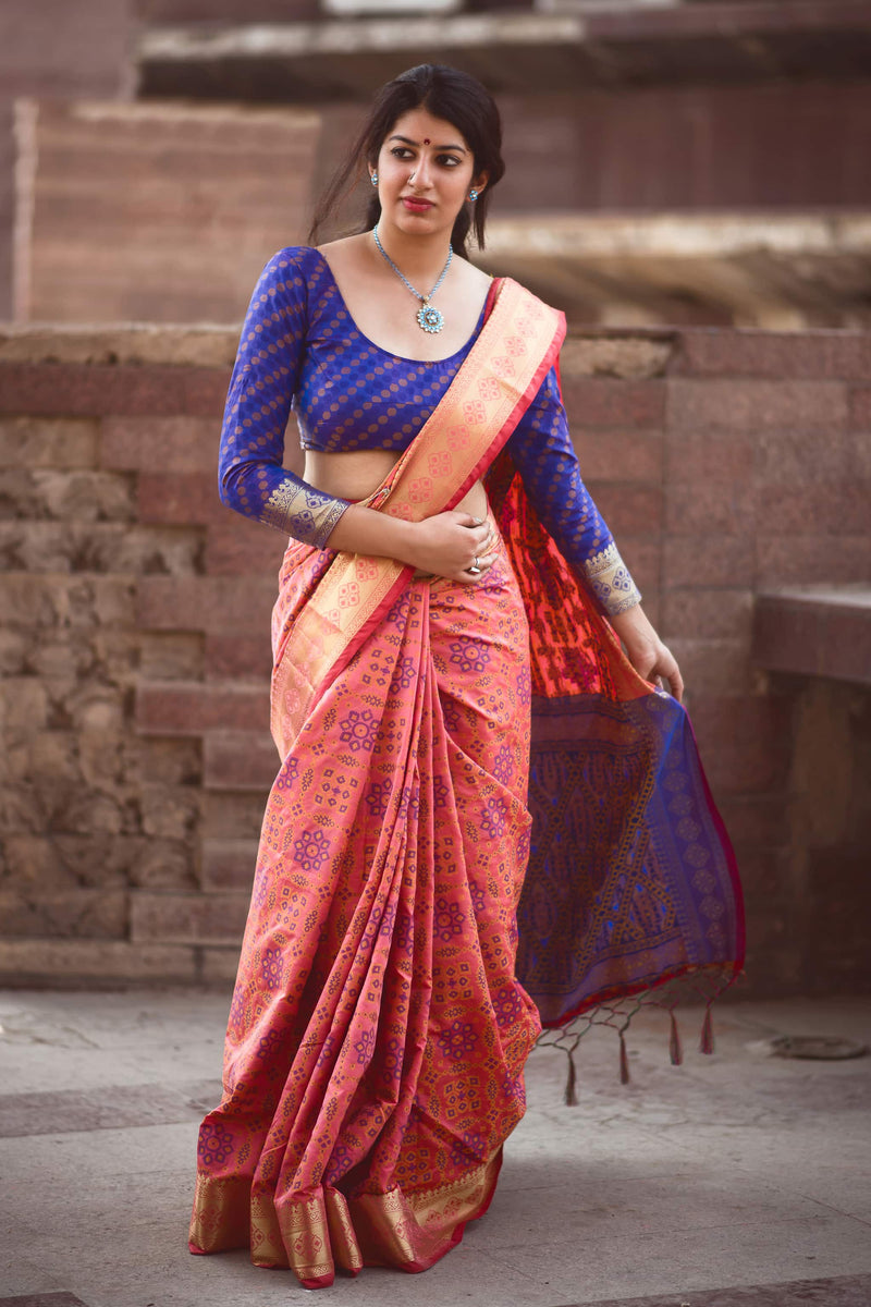 Salmon Pink Patola Silk Saree - Lotus Vol 08 by Manjubaa
