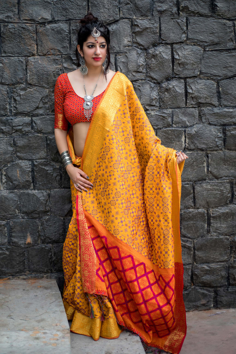 Mustard Patola Silk Saree - Lotus Vol 08 by Manjubaa