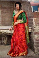 Red Patola Silk Saree - Lotus Vol 08 by Manjubaa