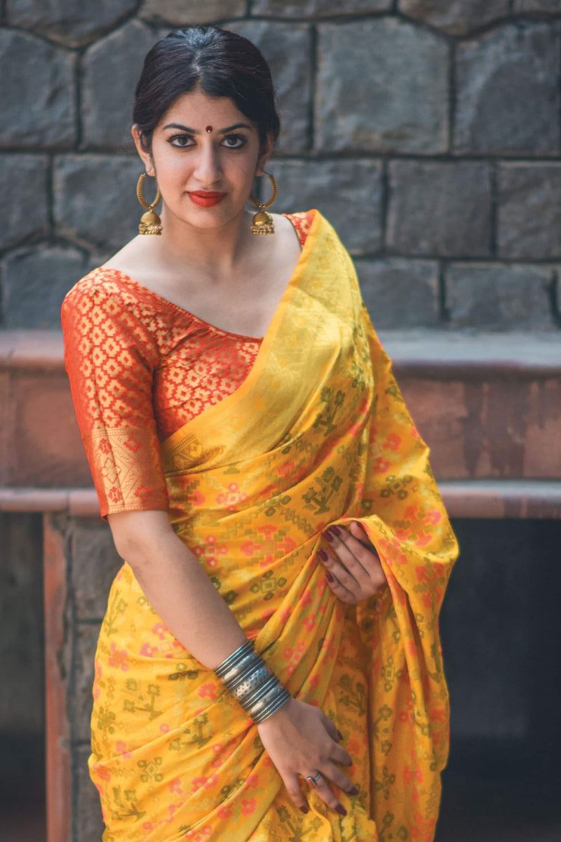 Lemon Yellow Banarasi Silk Saree - Lotus Vol 09 by Manjubaa