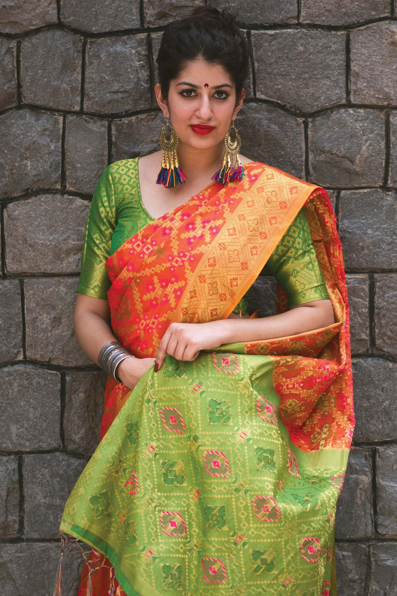 Dark Peach Banarasi Silk Saree - Lotus Vol 09 by Manjubaa