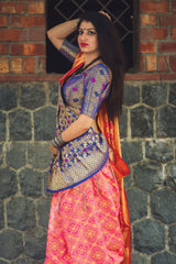 Pink And Blue Banarasi Silk Saree - Lotus Vol 09 by Manjubaa