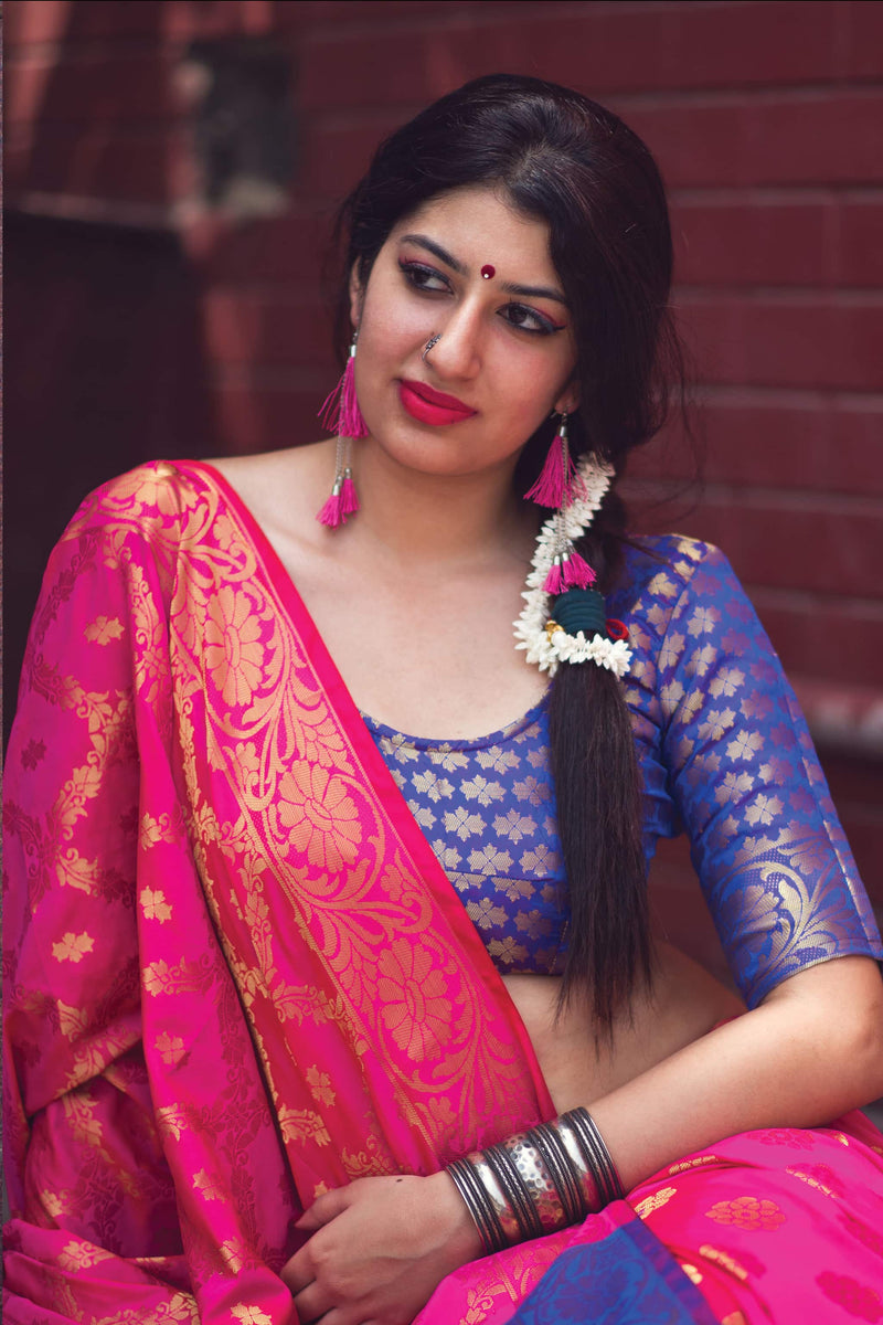 Rani Pink And Blue Banarasi Silk Saree - Lotus Vol 09 by Manjubaa