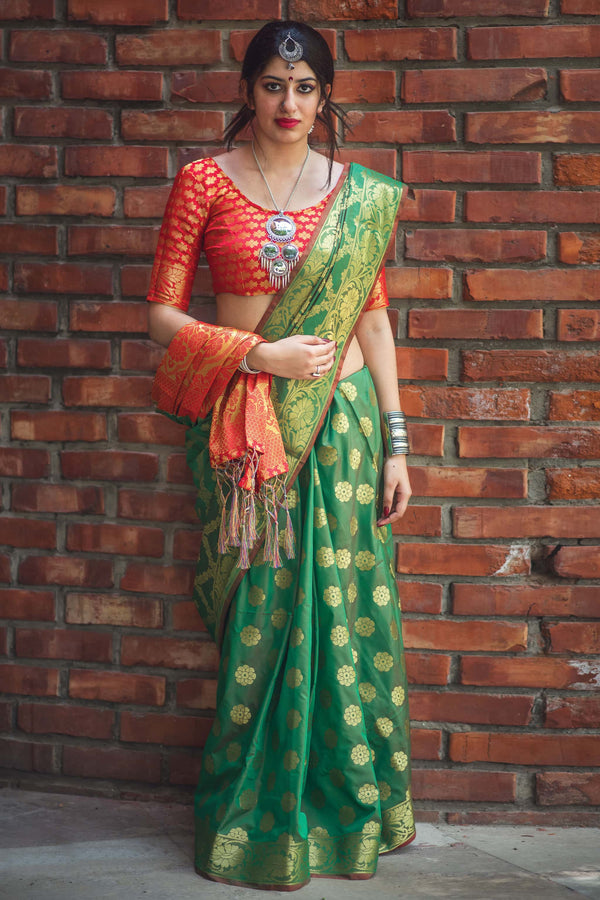 Green Banarasi Silk Saree - Lotus Vol 09 by Manjubaa