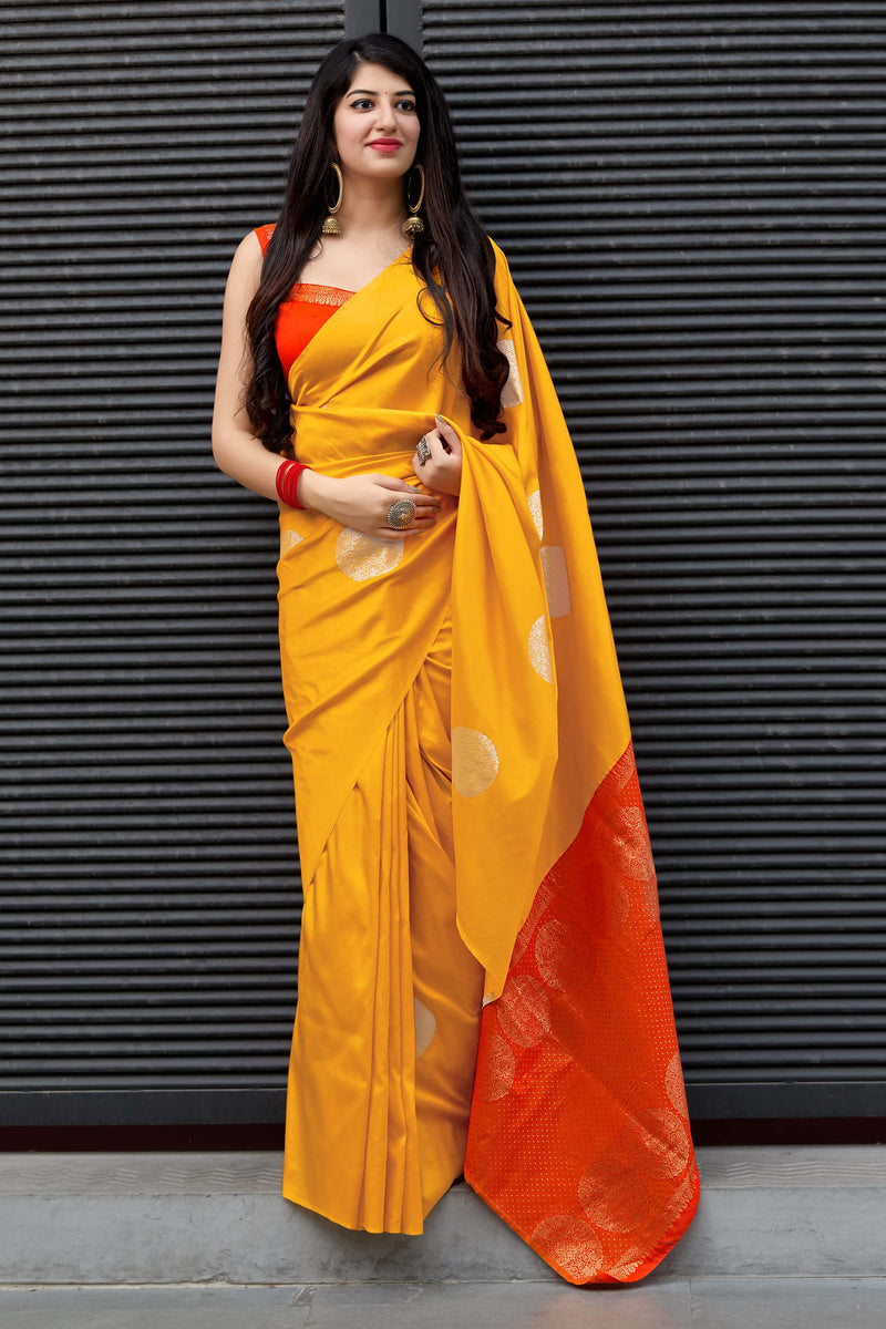 Yellow Kanjivaram Silk Saree - Maya by Manjubaa