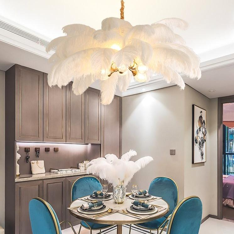 Feathers Of Royalty Luxury Chandelier MNMLST Designs White