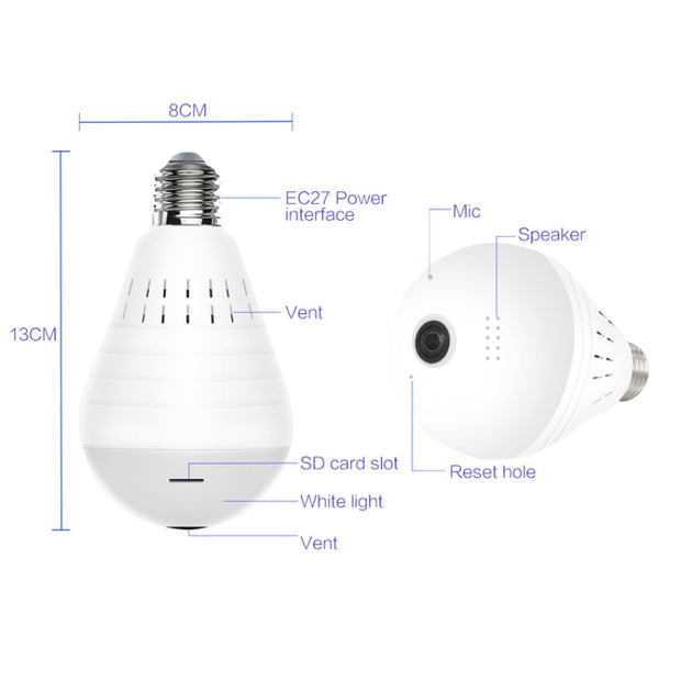 LED Light Bulb Lamp Wireless Panoramic Camera
