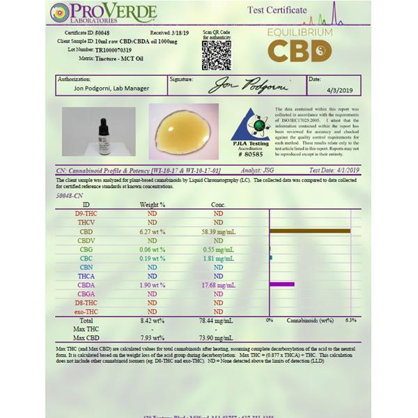 Load image into Gallery viewer, Equilibrium CBD Raw Extract 1000mg CBD Oil 10ml