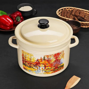 "Cylindrical Casserole ""Old Mill"", 8 L, ivory"