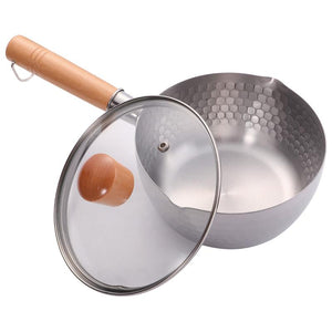 1 Set Non-Stick Milk Pot With Lid Multifunctional Stainless Steel Cooking Pot Heating Stew Pot Lightweight Thickened Saucepan