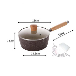 Classical Japanese Pot Non-stick Milk Noodle Soup Pot 18cm Dia Saucepan with Wood Handle Home Kitchen Cookware
