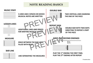 Note Reading For Strings: Note Reading, Rhythmic Values and Music Theory Charts