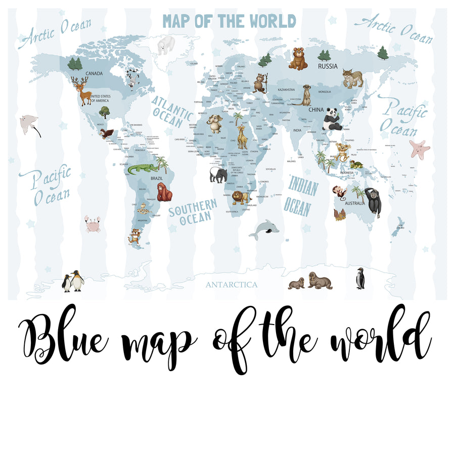 Blue Map of the World - Zidna Tapeta - Mural