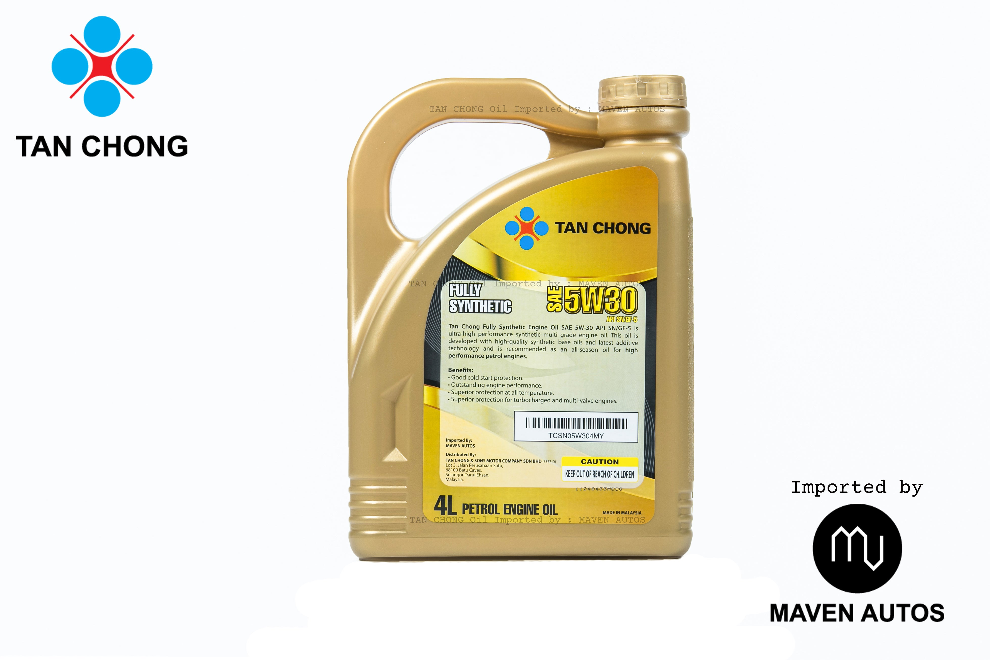 TAN CHONG Fully Synthetic Engine Oil 5W-30 SN/GF-5 (4L) – Maven Autos