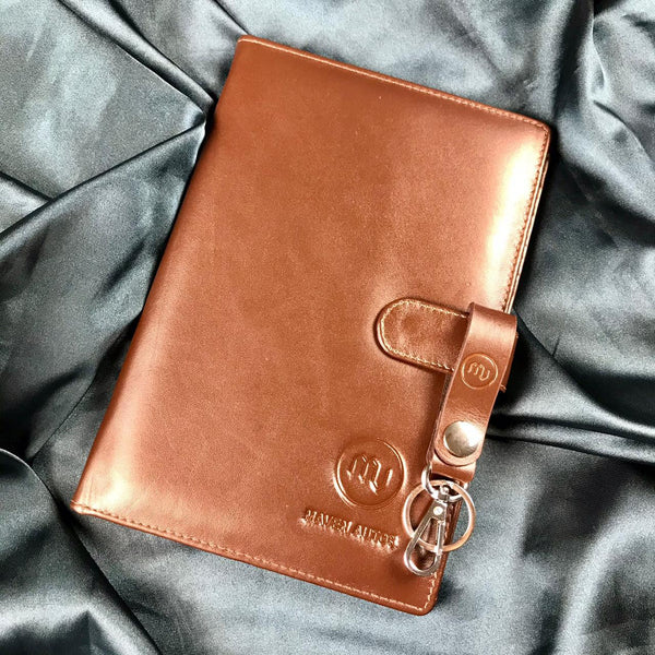LEATHER DOCUMENT HOLDER + LEATHER KEY RING