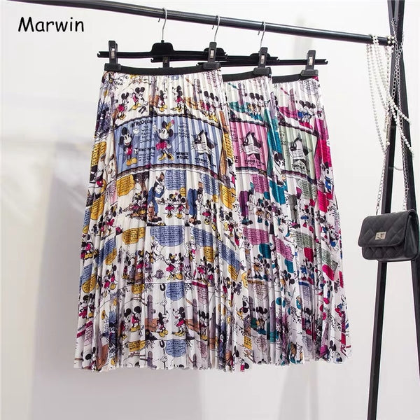 Marwin New-Coming Summer Catroon Printing Women Skirts Mid-Calf Pleated Skirt European High Street Style Empire Summer Skirts