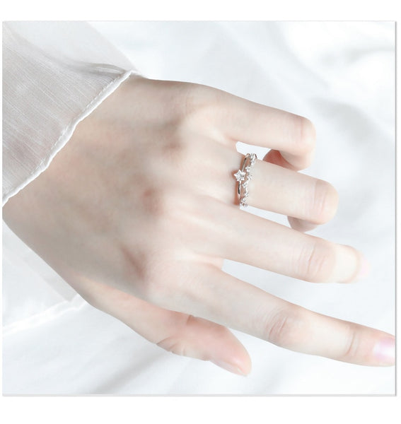 Silver Plated  Open Adjustable Double Layer Ring for Women  Zircon CZ Dainty Knuckle Ring Wedding Jewelry Gift