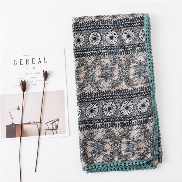 Sparsil Women Spring Cotton Linen Scarf  Flower Print Short Tassel Soft Wraps Summer Sun Protection Beach Shalws Long Scarves