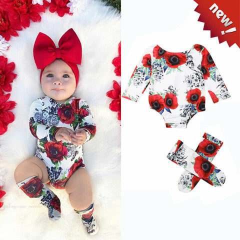 Newborn Baby Girl Autumn Clothes Toddler Girl Red Rose