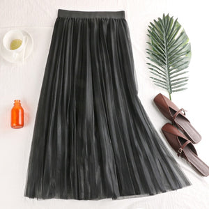 Skirts For Women Spring 2020 New Summer Style High waist Slender Gradually Reflective Pleated Mesh Half-length Fairy Skirt