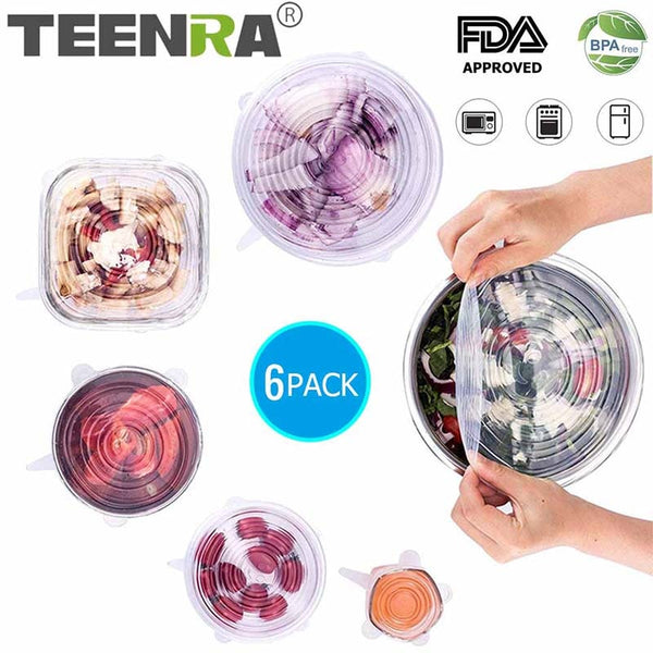 TEENRA 6Pcs Silicone Stretch Lids Universal Lid Reusable Silicone Food Wrap Bowl Pot Lids Food Fresh Wrap Smile Kitchen Tools