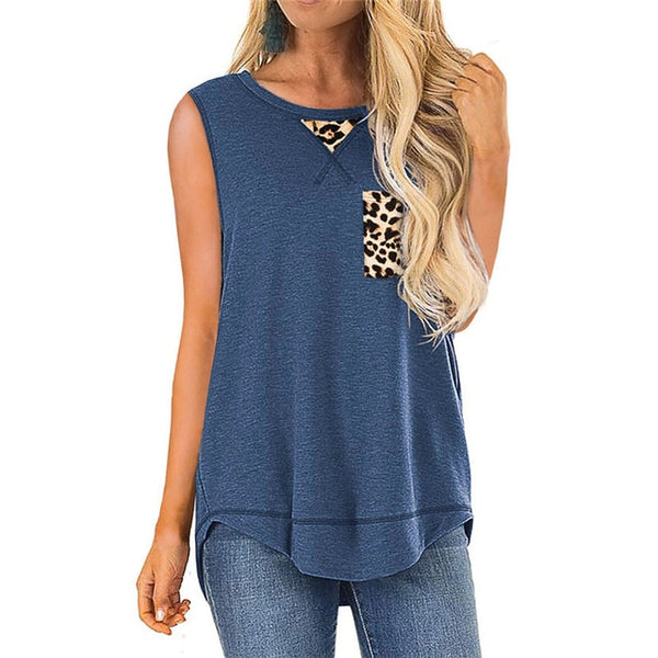 Plus Size 5XL Women T shirts Summer Sleeveless O-Neck irregular Tops Female Tshirt Loose Casual Leopard Patchwork print Tops Tee
