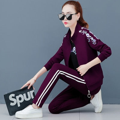 sweatsuits for women 2020 three-piece sweater sports suit women's autumn and summer large size loose long sleeve running casual