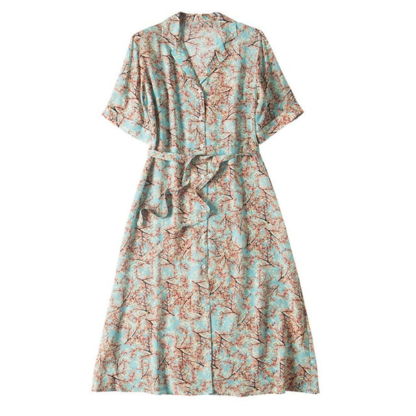 SuyaDream Women A-line Shirt Dress 100%Silk Crepe Floral Print Shorted Sleeved Sash Midi Dresses 2020 Summer Dress
