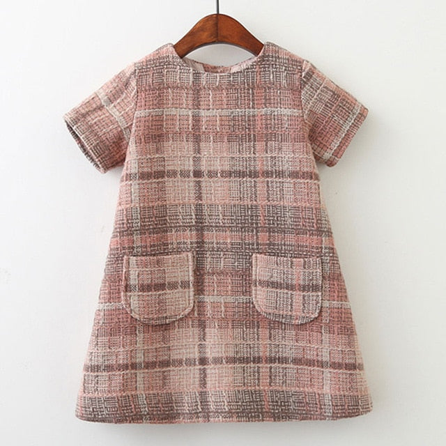 Menoea Girls Dress New Brand  Clothes Plaid Pattern Kids