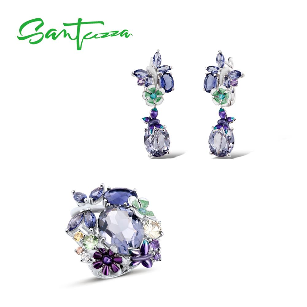 Silver Jewelry Set For Women 925 Sterling Silver Butterfly Purple Stones Ring Earrings Fashion Jewelry HANDMADE Enamel