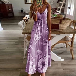 Spaghetti Strap Sleeveless Flower Print Dress Women Tunic Summer Casual Boho Beach Long Dress Female Plus Size 5XLRobe Vestidos