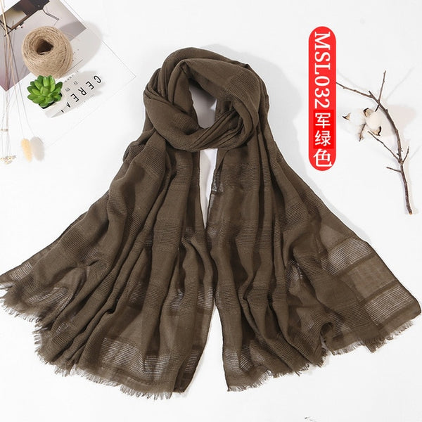 Spring Women Hollow Out Scarf Cotton Solid Color Long Shawl Wrap Hijab Short Tassel Turban Muslim Islamic Headscarf Female90*180