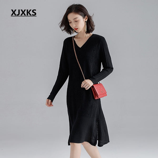 XJXKS High quality cashmere knitted dress women long sweater 2019 autumn winter new loose plus size women dress