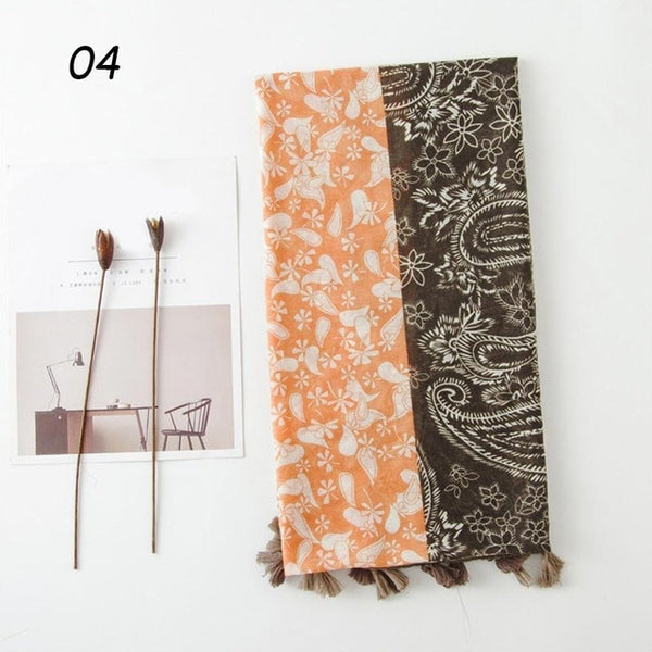 Sparsil Women Three-Color Printing Tassel Scarf Autumn Spring Thin Cotton Linen Travel Shawl 180*90 Female Soft Comfort Scarves