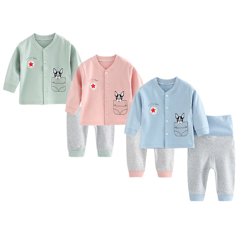 2pcs children sets long sleeves baby boys coat infant  trousers cotton pajamas toddler girls clothing