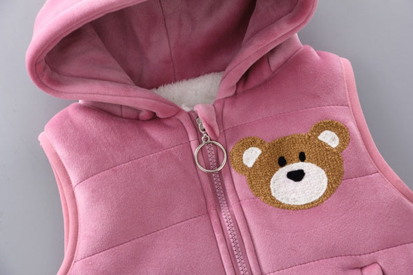 Baby boy clothes baby suit gold velvet warm clothing bee bear cartoon plus velvet thick sweater baby girl hooded vest 3pcs