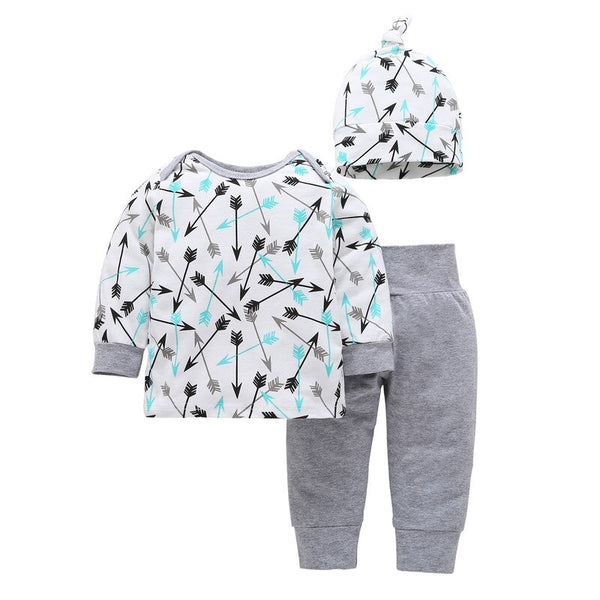2020 New Long Sleeves T-shirt Kids Hats Newborn Pants 3pcs