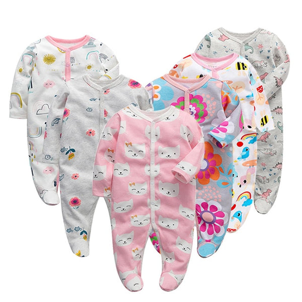6pcs/Lot Baby Girl Boy Clothes Footed