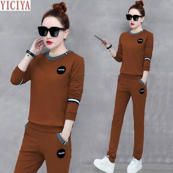 YICIYA Black tracksuits 2 piece set women set long sleeves pants suits and top plus size large clothes outfits autumn winter