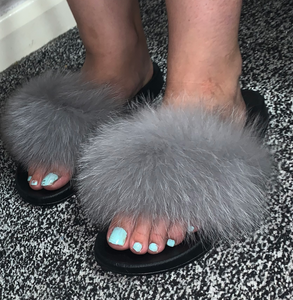 Grey fluffy slides