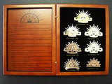 ANZAC 7 RISING SUN BADGES COLLECTION IN CASE