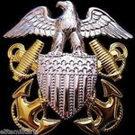 U.S. NAVY OFFICER CAP BADGE GOLD PLATED INSIGNIA