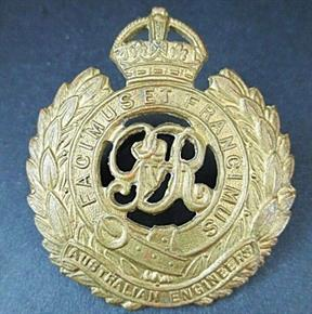 WW1 AUSTRALIAN ANZAC ENGINEERS HAT BADGE