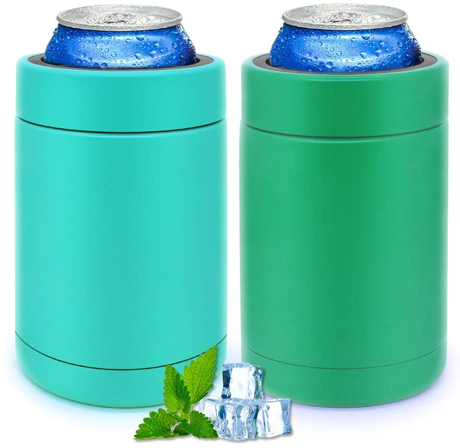 Set of 2 Vacuum Insulated Can Cooler Double Walled Stainless Steel Thermocoolers