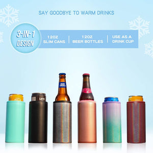 Multi Function Insulated Can Cooler Double-walled Stainless Steel Slim Can Coozie For 12oz Regular Cans