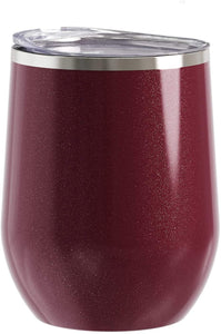 Stainless Steel Stemless Wine Glass Tumbler with Lid, Vacuum Insulated 12 oz Cup